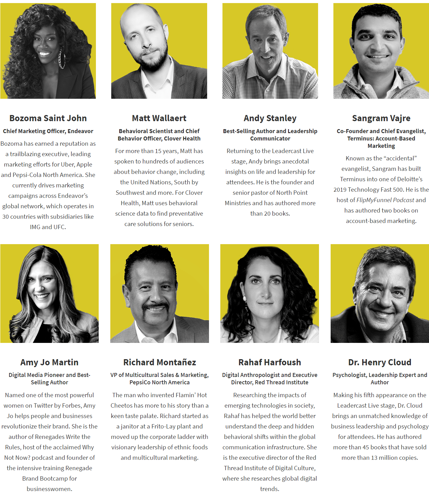 Leadercast 2020 speakers
